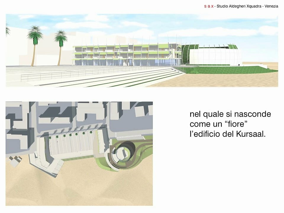Riqualificazione dell'area di Piazzale Zenith: la nuova piazza, un parcheggio interrato e il Kursaal a Bibione (Venezia)